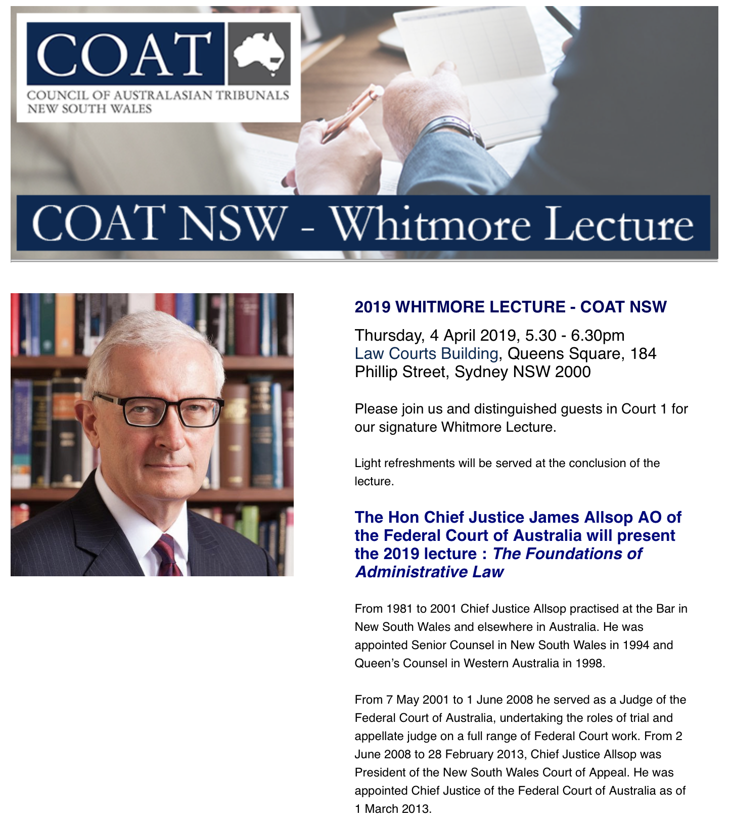 COAT NSW 2019 Whitmore Lecture