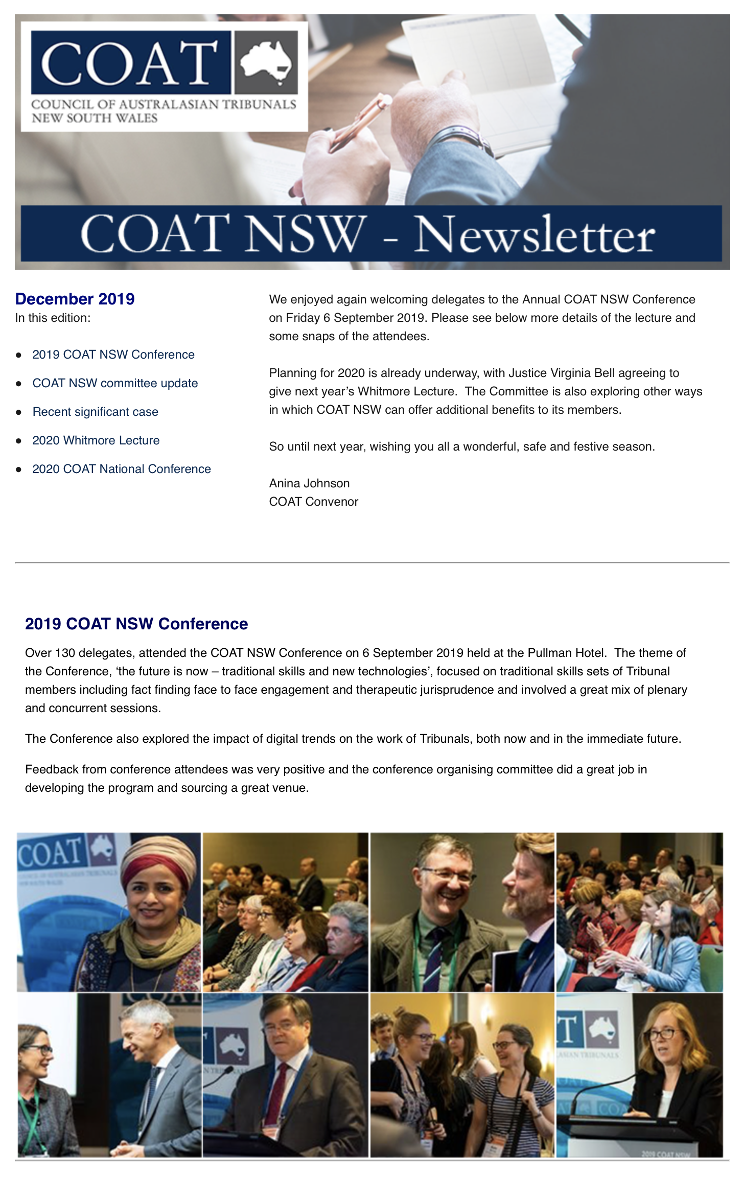 December 2019 Newsletter - COAT NSW