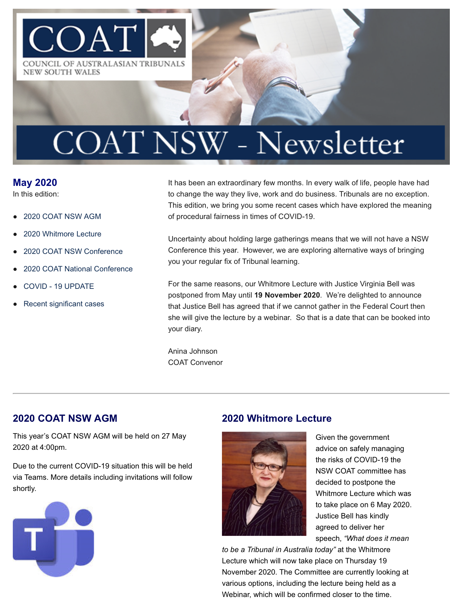COAT NSW NEWSLETTER - MAY 2020
