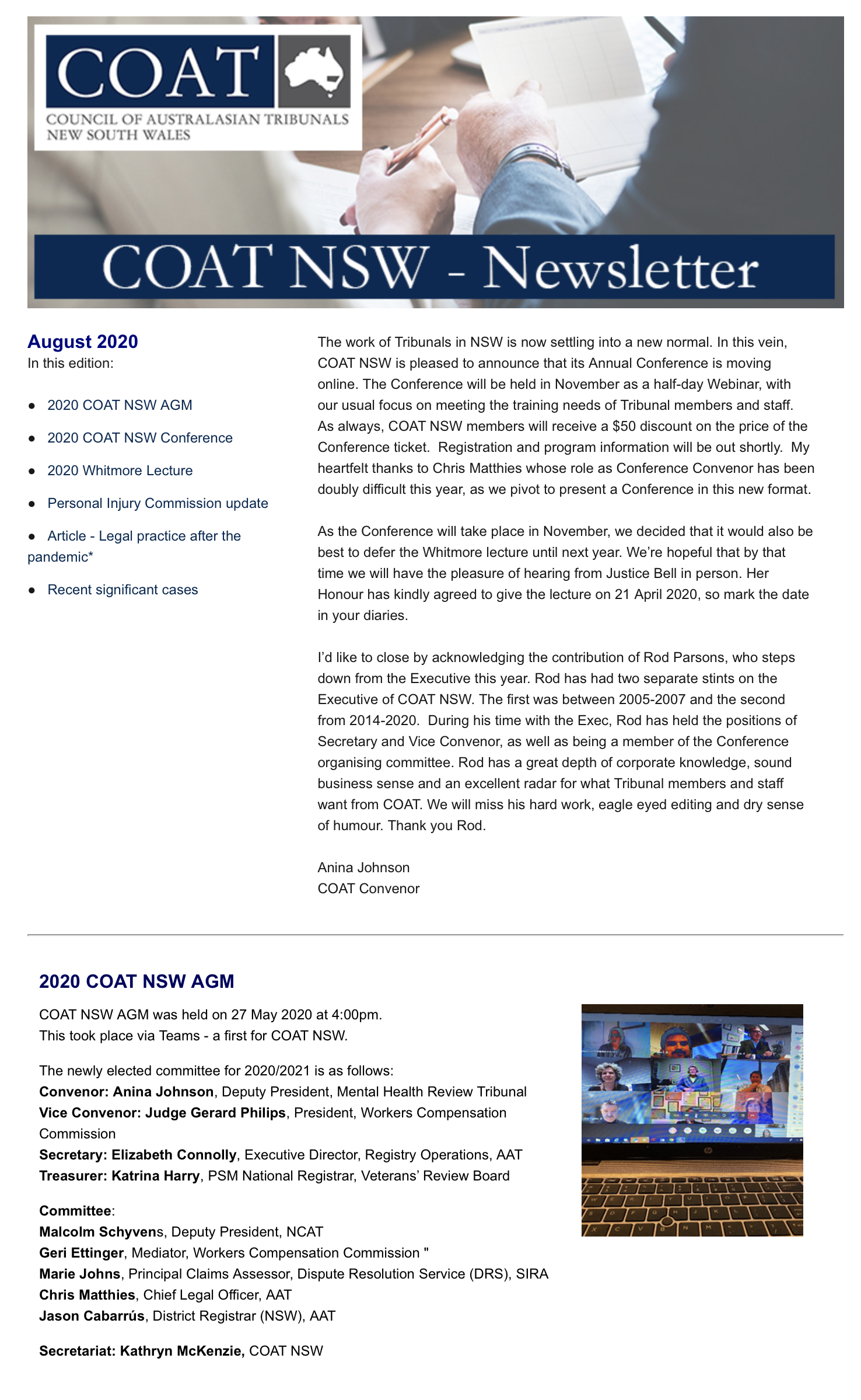 COAT NSW eNews - August 2020